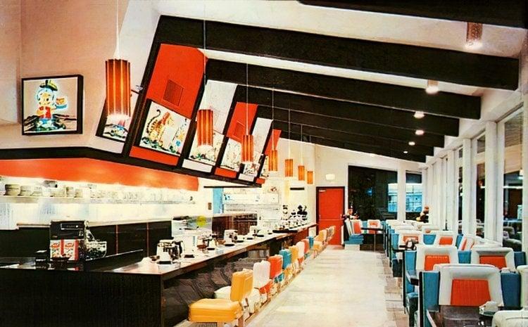 Vintage Sambo's postcard - interior of restaurant-gigapixel-width-750px