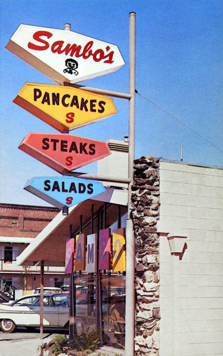 Vintage Sambo's restaurant postcard - 1960s with old logo