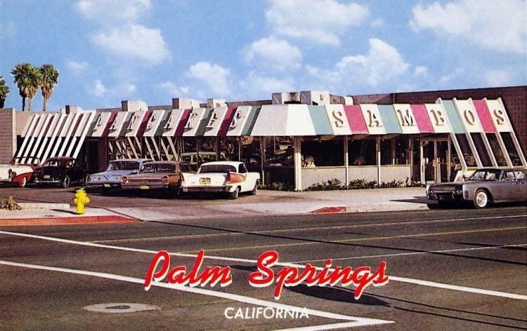 Vintage Sambo's restaurant postcard - Palm Springs 1960s