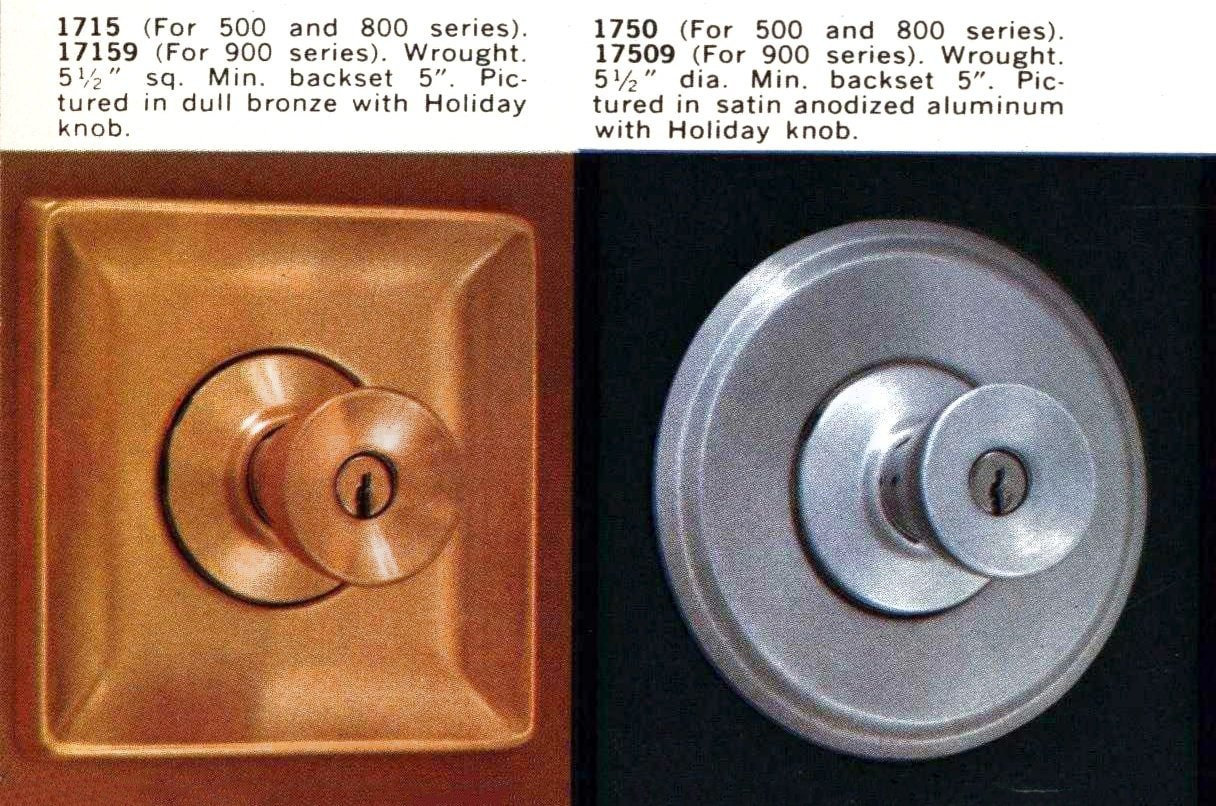 Vintage Schlage Holiday knobs from in dull bronze anodized aluminum (1959)