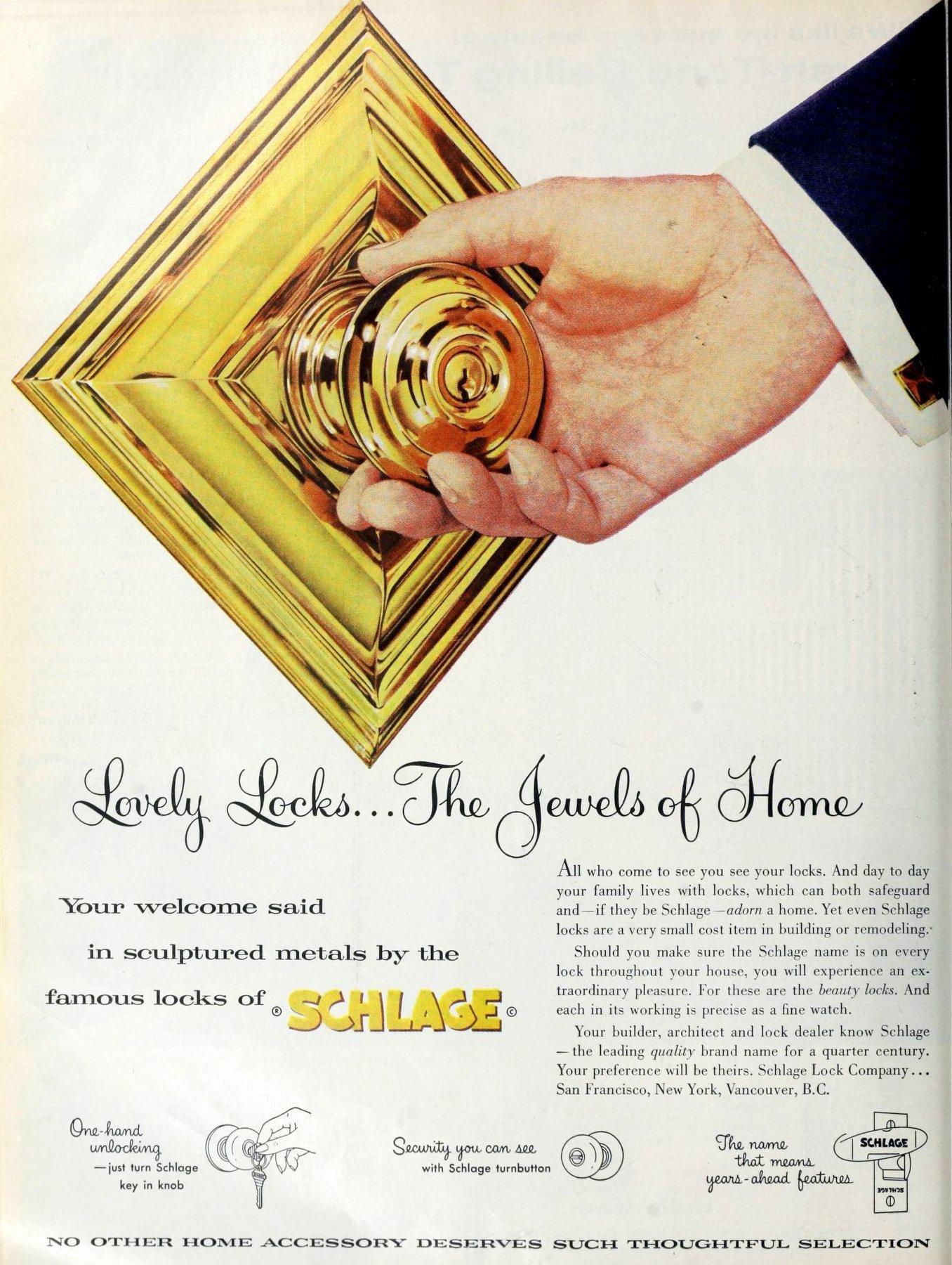 Vintage Schlage brass mid-century modern front door knob