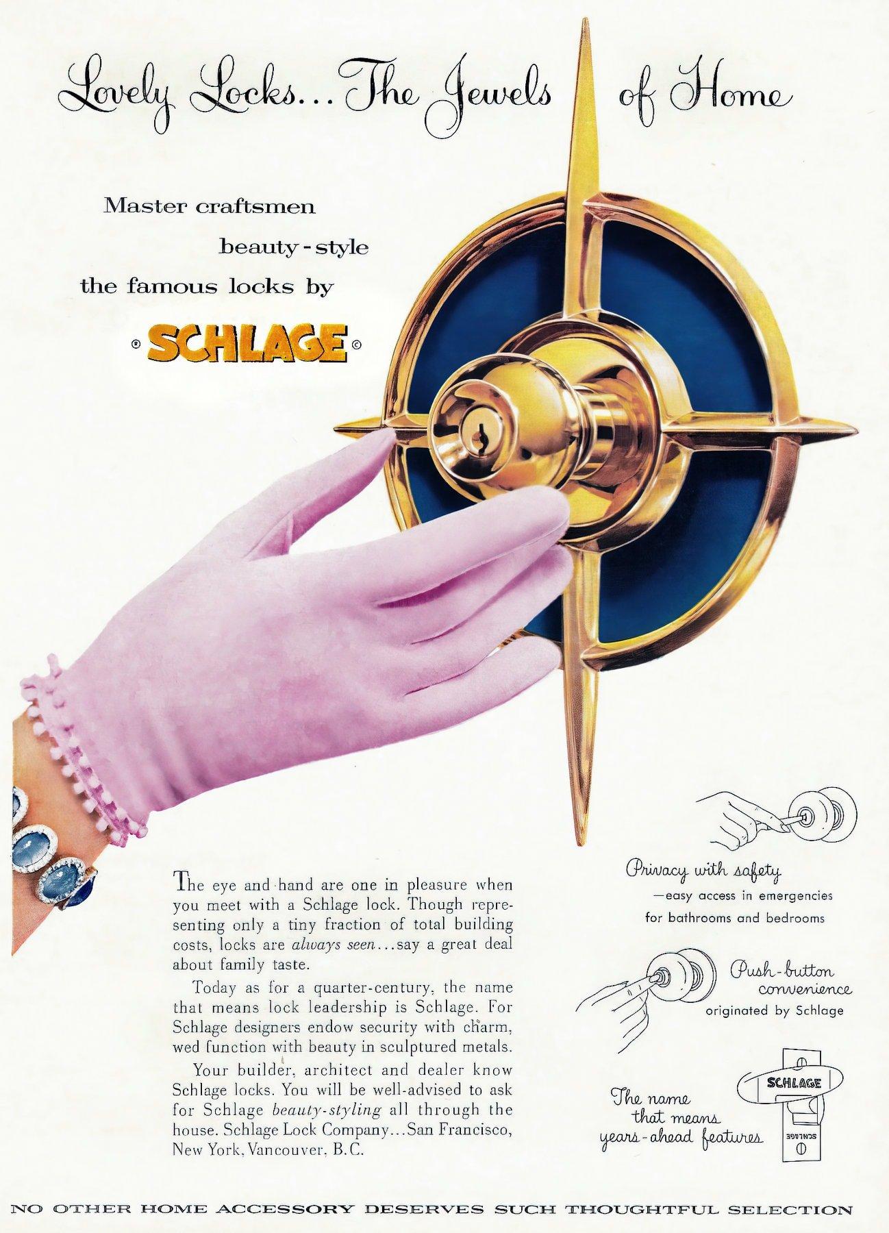 Vintage Schlage iconic starburst design front door handle c1962