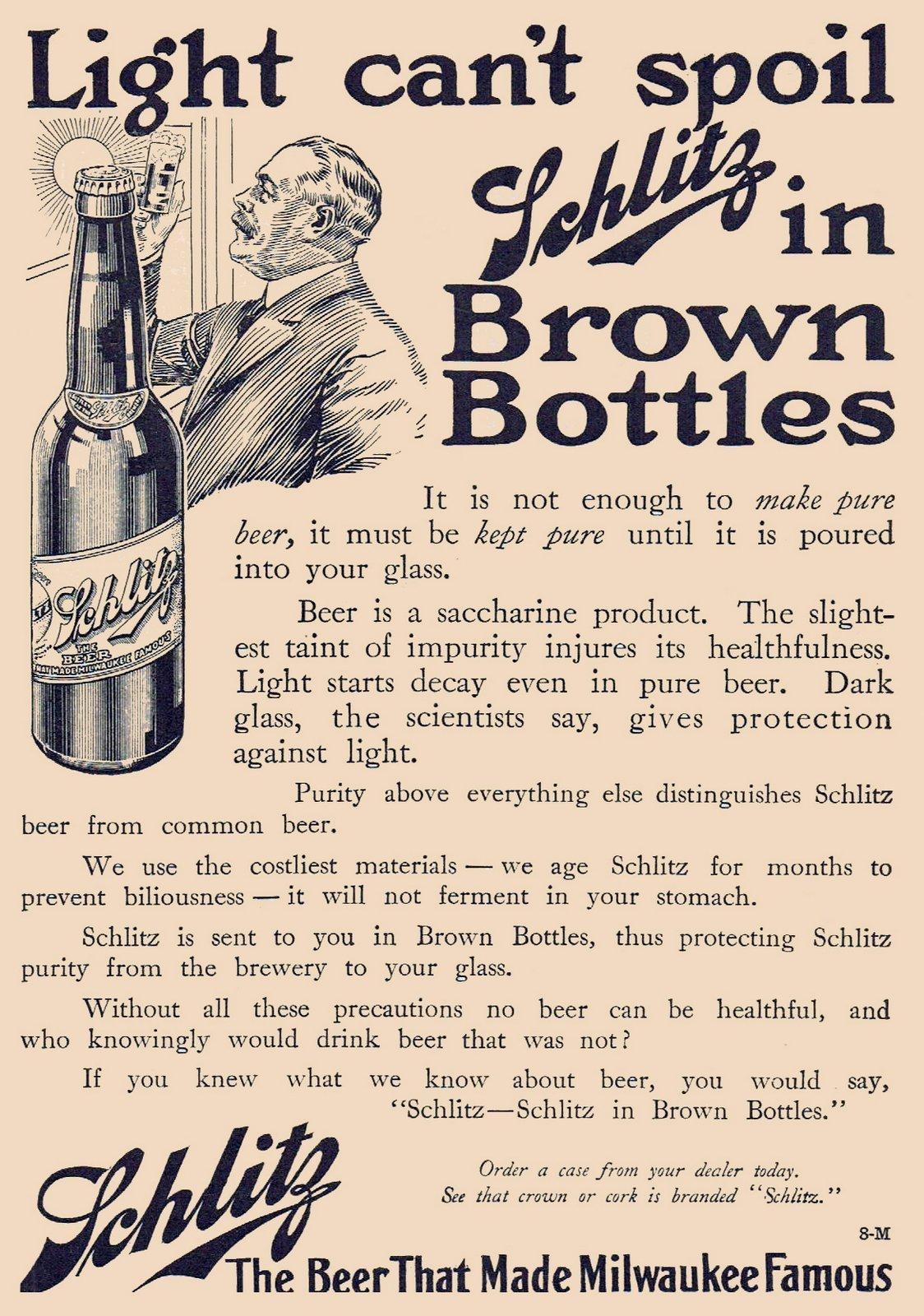 Vintage Schlitz beer ad - Brown bottles