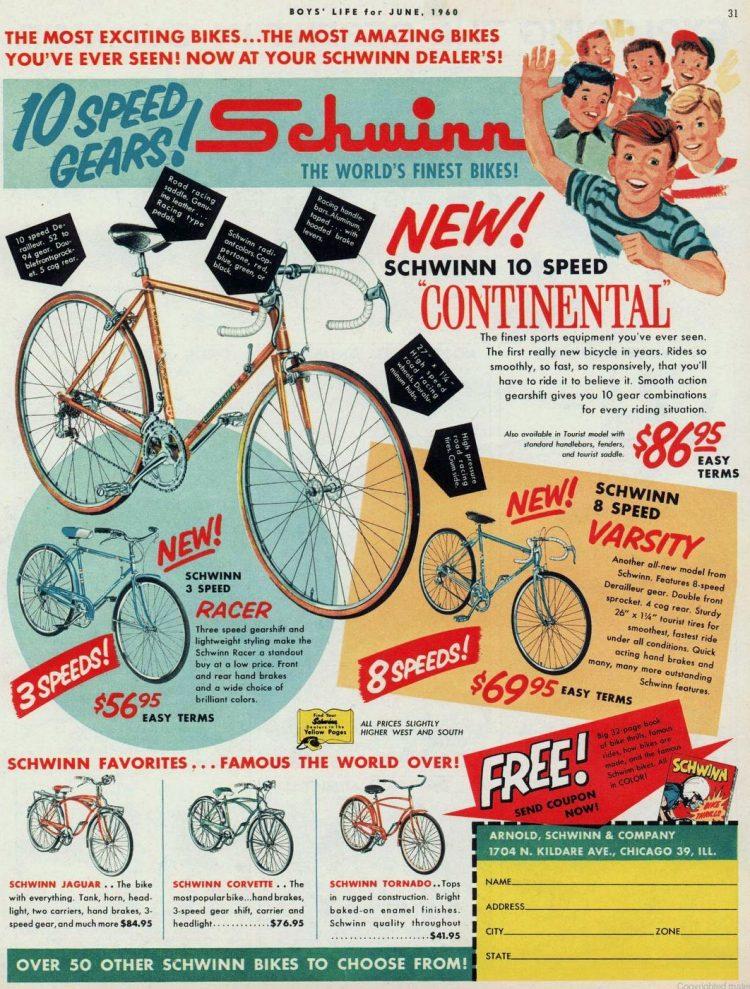 Vintage Schwinn 10 speed bikes - Racer Varsity 1960