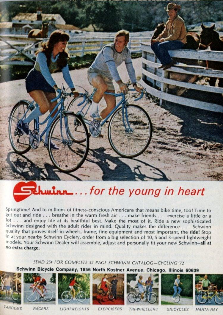 Vintage Schwinn 10 speed bikes from 1972