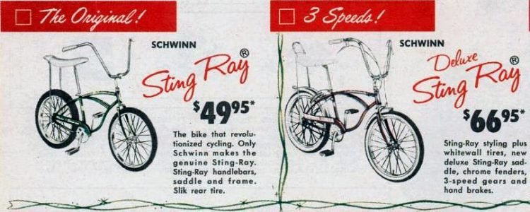 Vintage Schwinn banana seat bicycles from 1965
