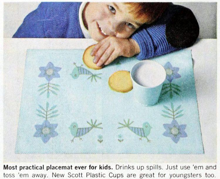 Vintage Scott family paper placemats 1964 (2)