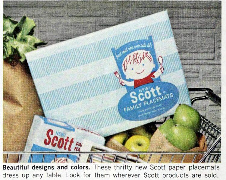 Vintage Scott family paper placemats 1964 (4)