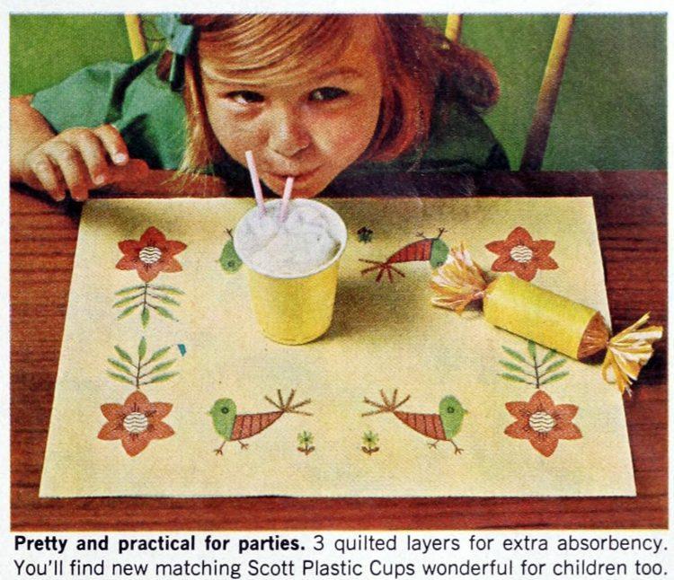 Vintage Scott family paper placemats 1964 (6)
