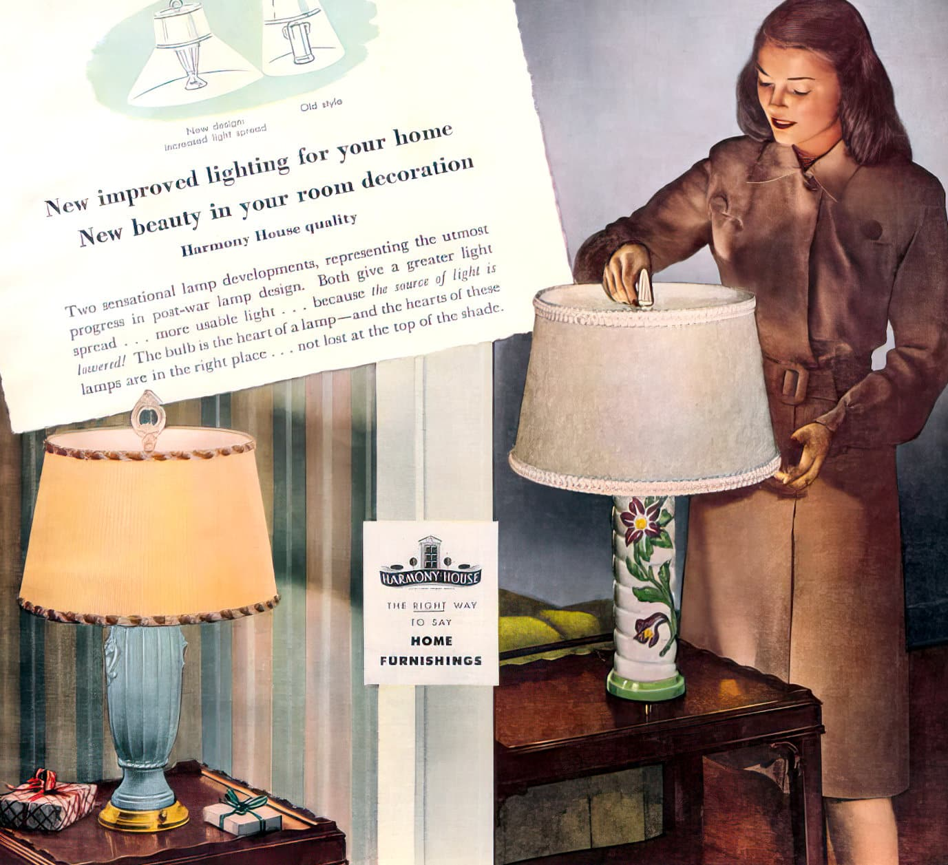 Vintage Sears Harmony House table lamps from 1946
