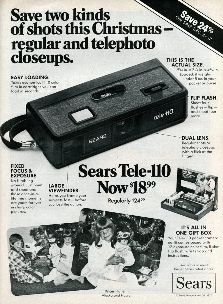 Vintage Sears Tele 110 camera from 1979