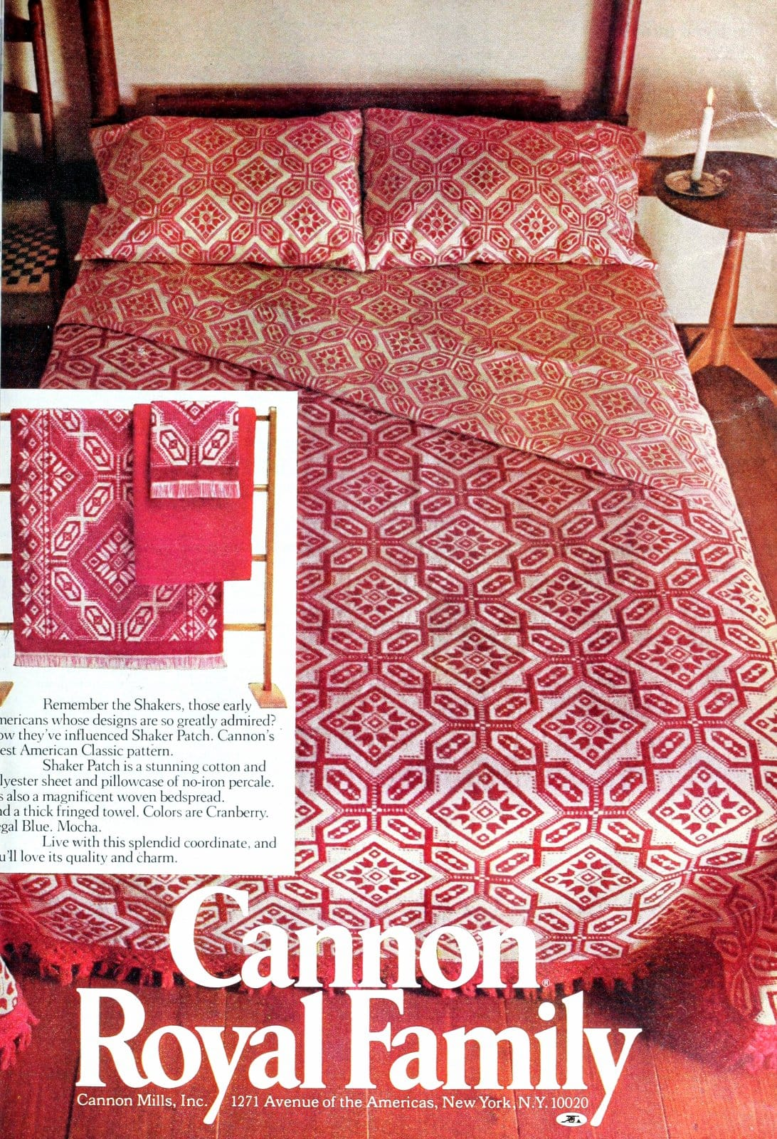 Vintage Shaker-style red and white patterned bedspread (1975)