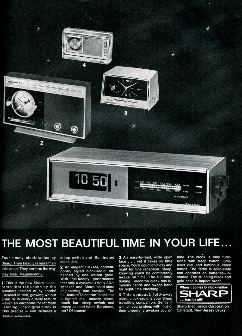 Vintage Sharp clock radios from 1969