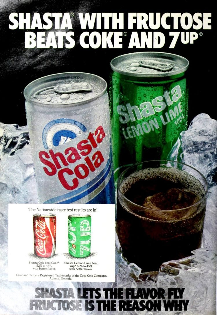 Vintage Shasta soda - Cola and lemon lime from 1980