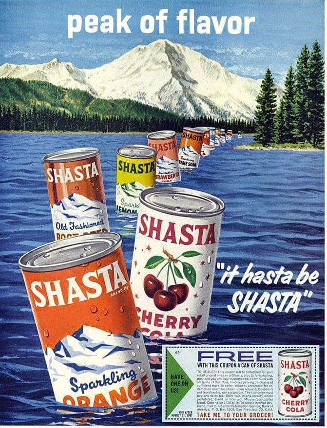 Vintage Shasta sodas soft drinks from 1967