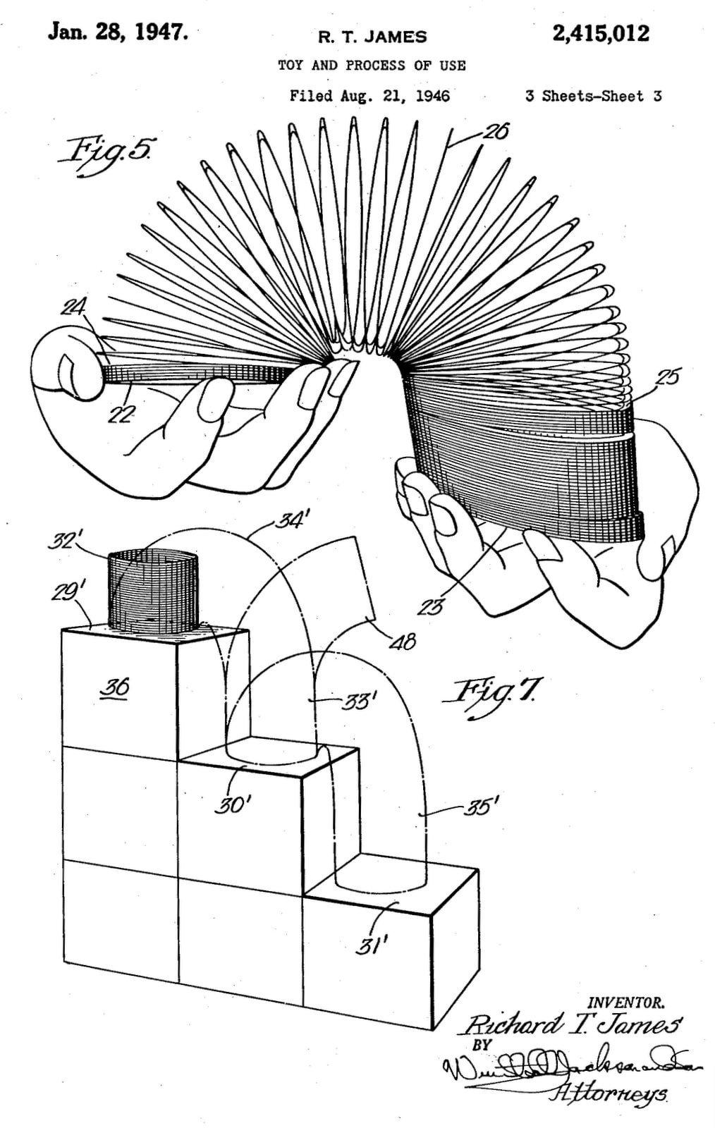 Vintage Slinky toy patent (1946)