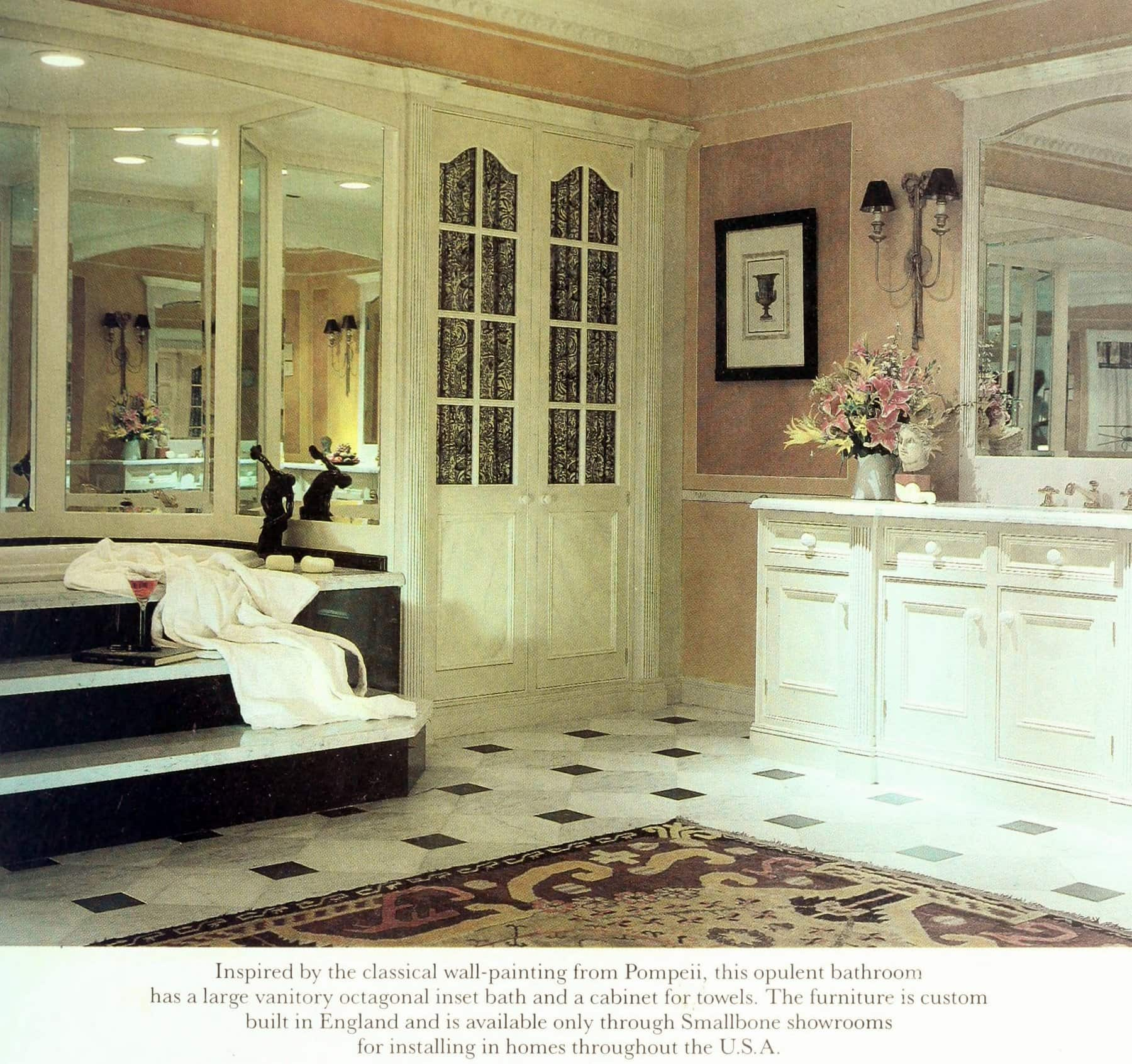 Vintage Smallbone Pompeii-inspired bathroom decor (1988)
