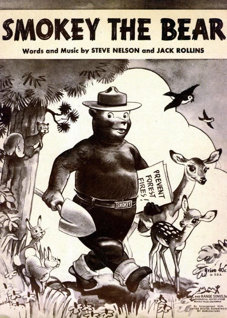 Vintage Smokey the Bear sheet music cover