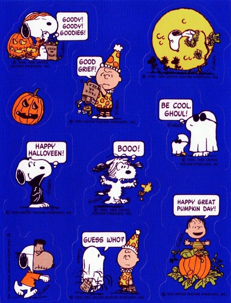 Vintage Snoopy Halloween sticker sheet