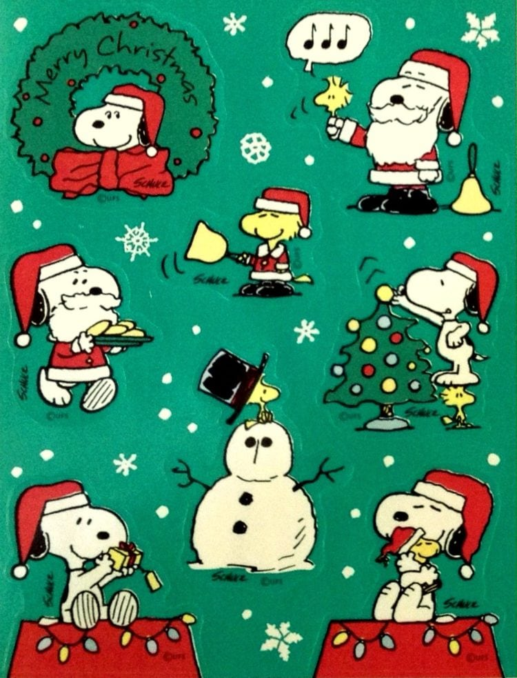 Vintage Snoopy and Woodstock - Peanuts Christmas sticker sheet