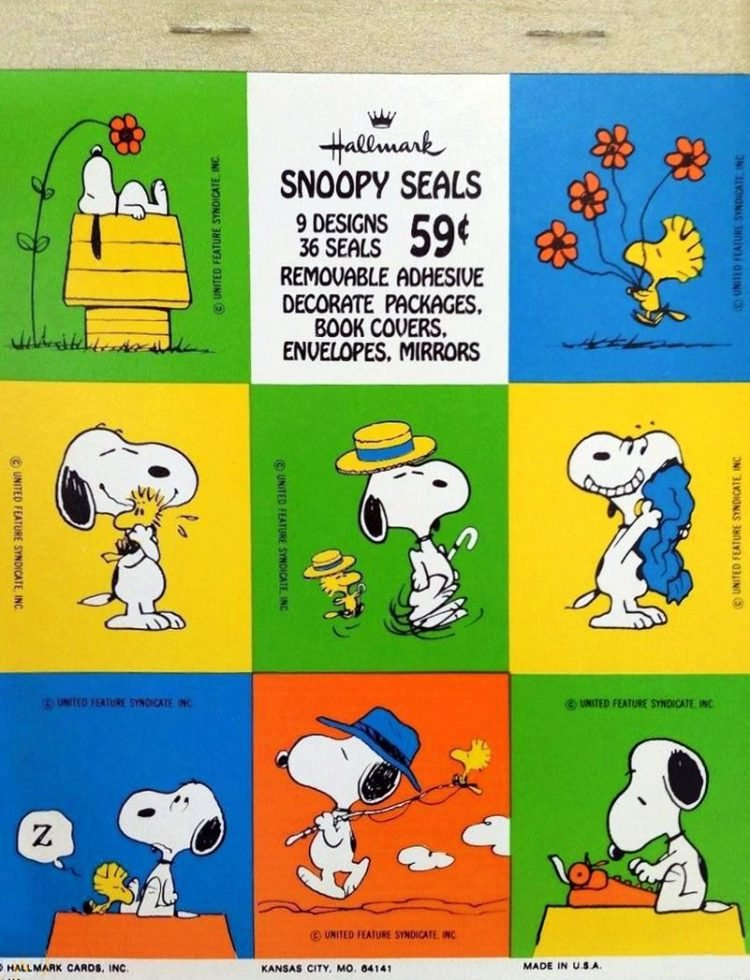 Vintage Snoopy and Woodstock - Peanuts sticker sheet set