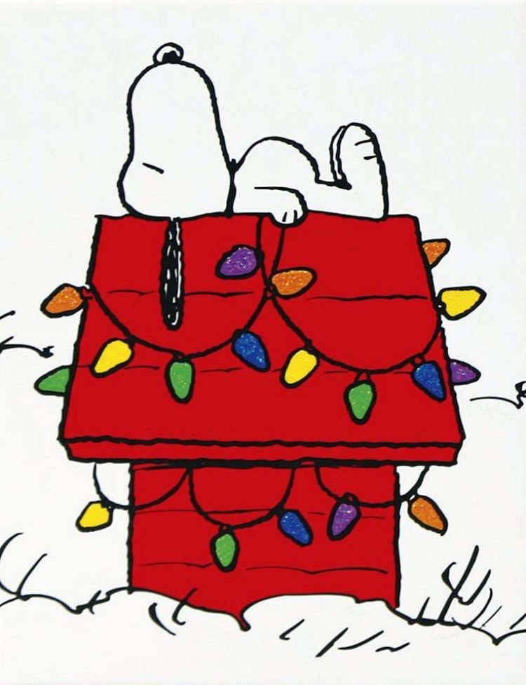 Vintage Snoopy house with Christmas lights - Holiday card