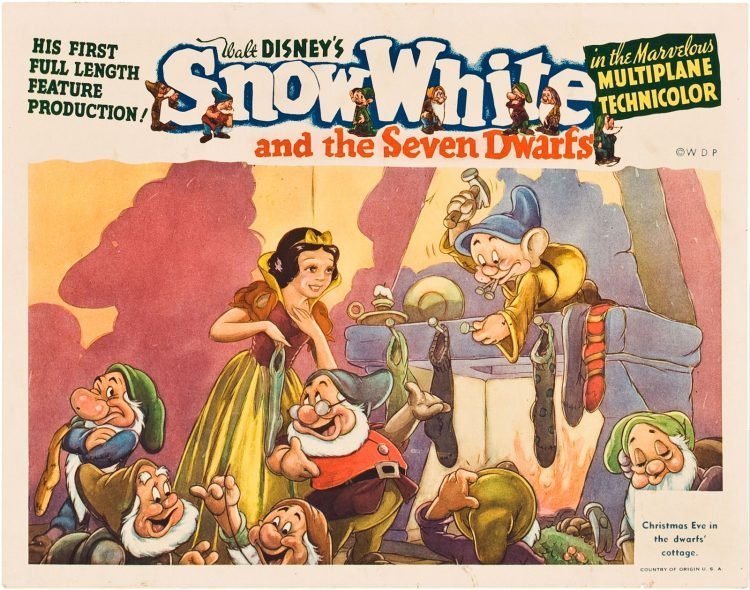 Vintage Snow White movie lobby poster from the 1930s