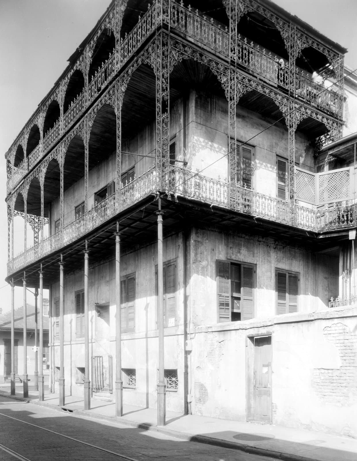 Vintage Southern wrought-iron balcony at Le Pretre Mansion New Orleans, Louisiana (1937)