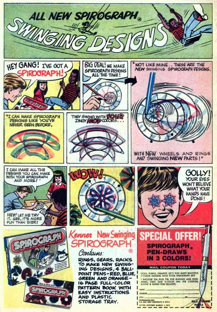 Vintage Spirograph comic strip ad from 60s 70s