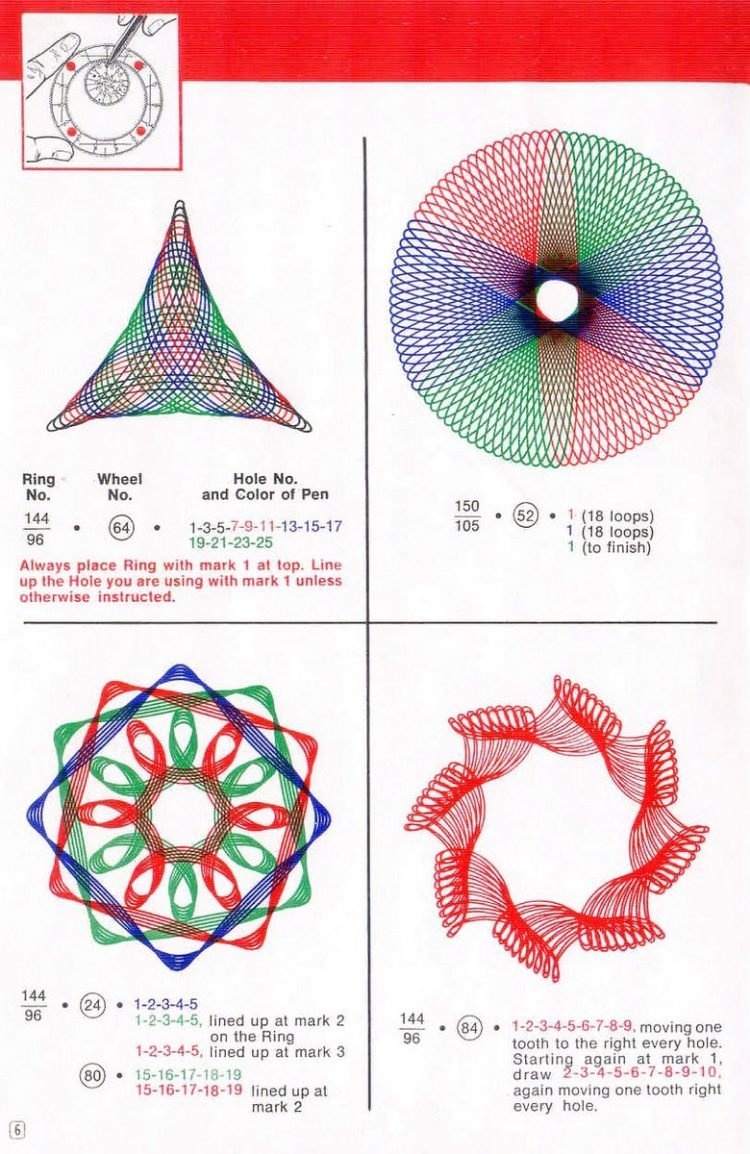 Vintage Spirograph pattern examples - Classic toys (1)