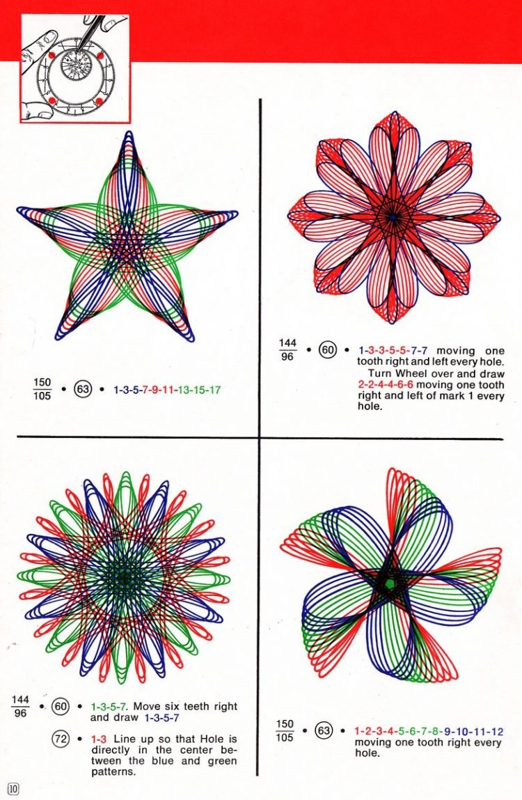 Vintage Spirograph pattern examples - Classic toys (2)