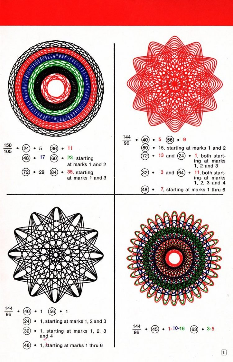 Vintage Spirograph pattern examples - Classic toys (4)
