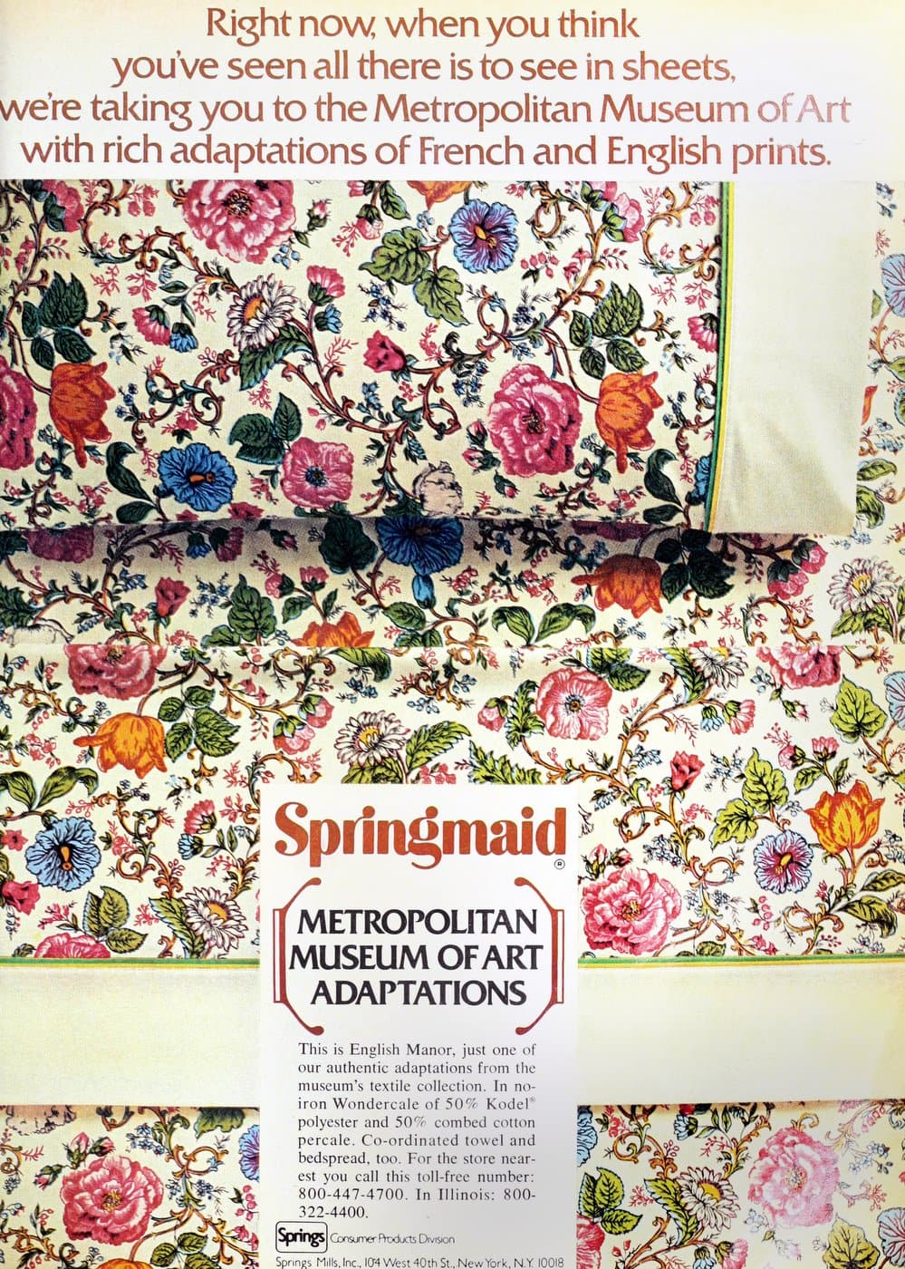 Vintage Springmaid MOMA floral bedding from 1973
