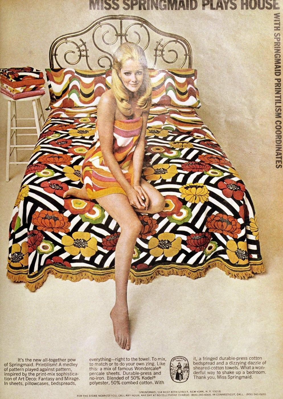 Vintage Springmaid Printilism flowered bedding from 1970