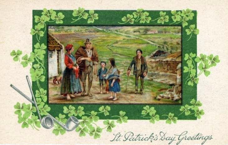 Vintage St Patrick's Day postcard - Donegal Ireland scene