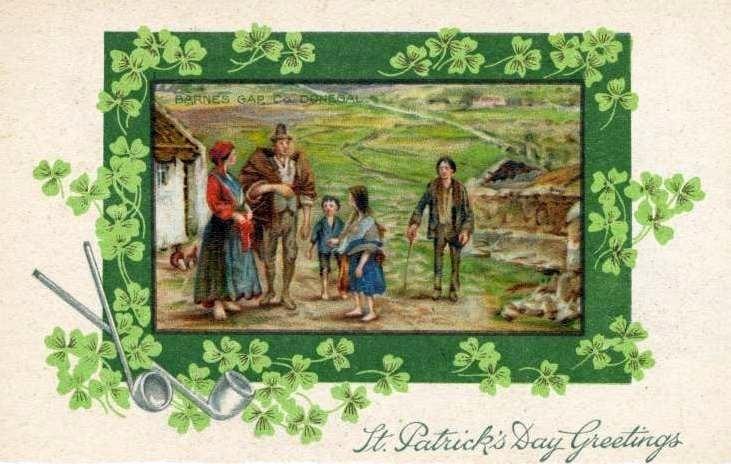 Vintage St Patrick's Day postcard - Donegal Ireland scene