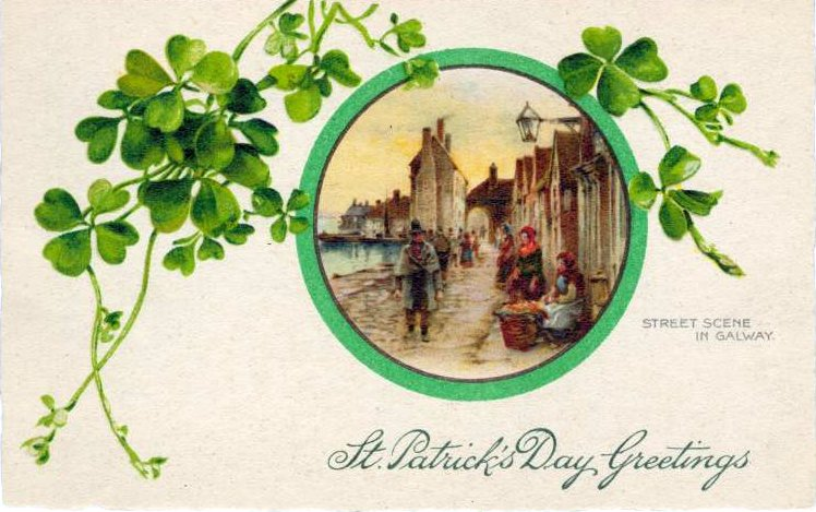 Vintage St Patrick's Day postcard - Galway