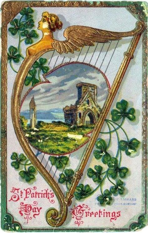 Vintage St Patrick's Day postcard - St Celtic harp