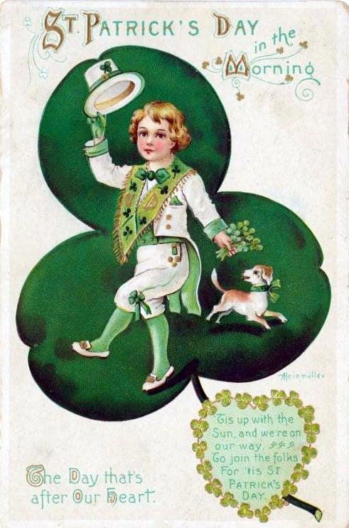 Vintage St Patrick's Day postcard - Morning boy