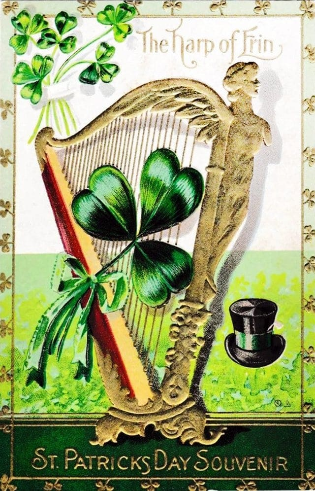 Vintage St Patrick's Day postcard - The Harp of Erin