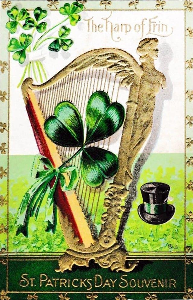 Vintage St Patrick's Day postcard - The Harp of Erin