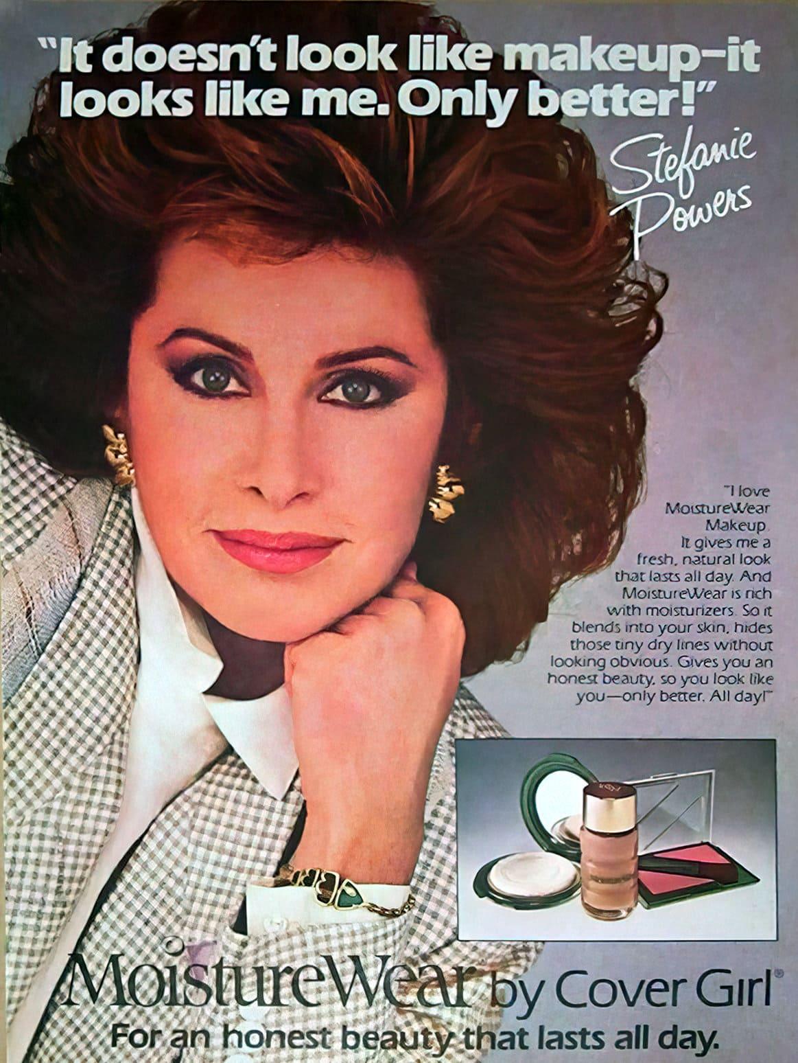 Vintage Stefanie Powers ad for MoistureWear makeup (1980s)