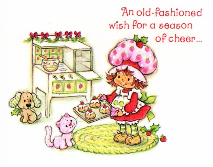 Vintage Strawberry Shortcake card - Christmas c1980