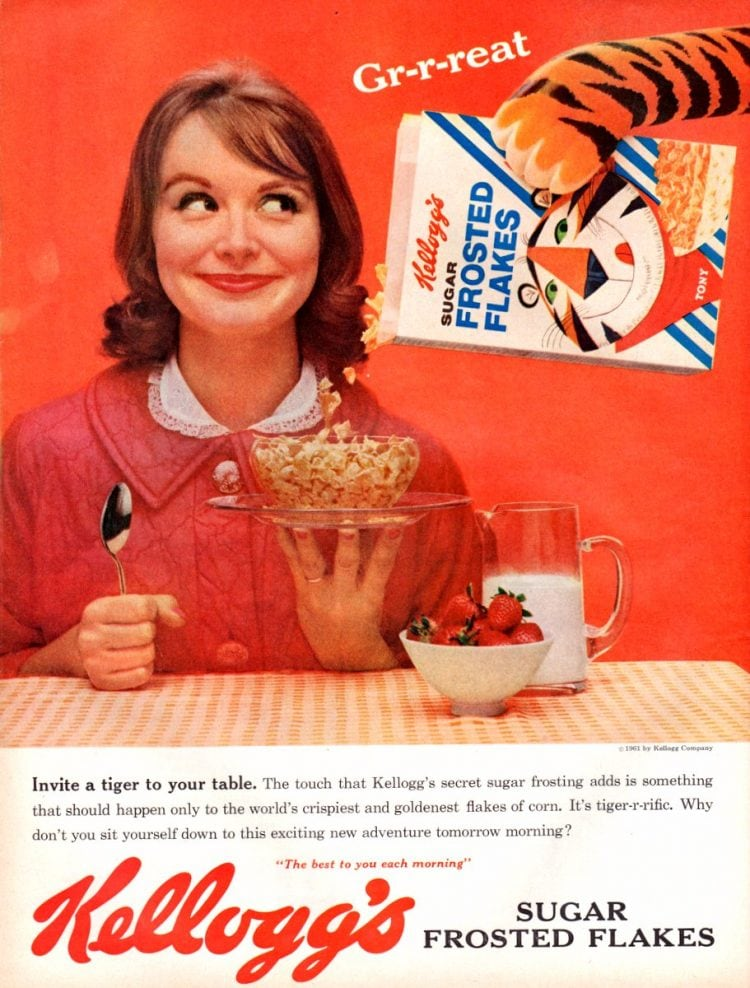 Vintage Sugar Frosted Flakes cereal ad from 1961