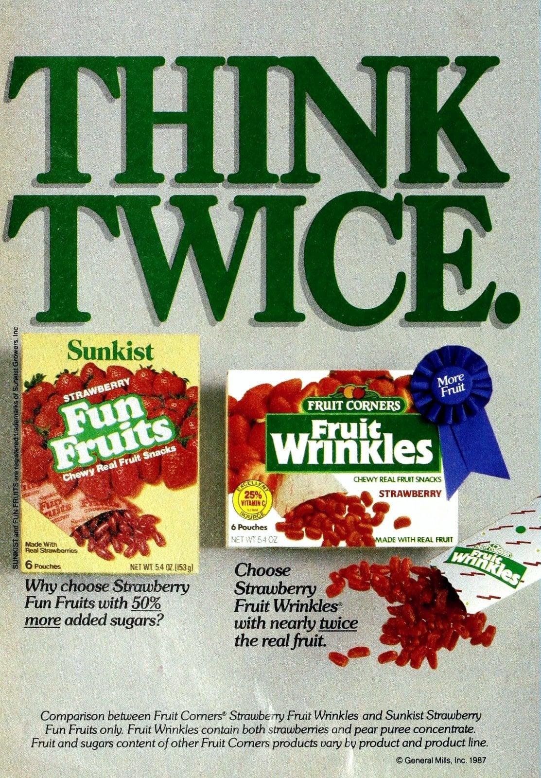 Vintage Sunkist Fun Fruits vs Fruit Corners Fruit Wrinkles (1987)