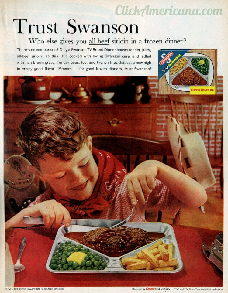 Swanson vintage TV dinners from 1961 - Chopped sirloin beef peas and fries