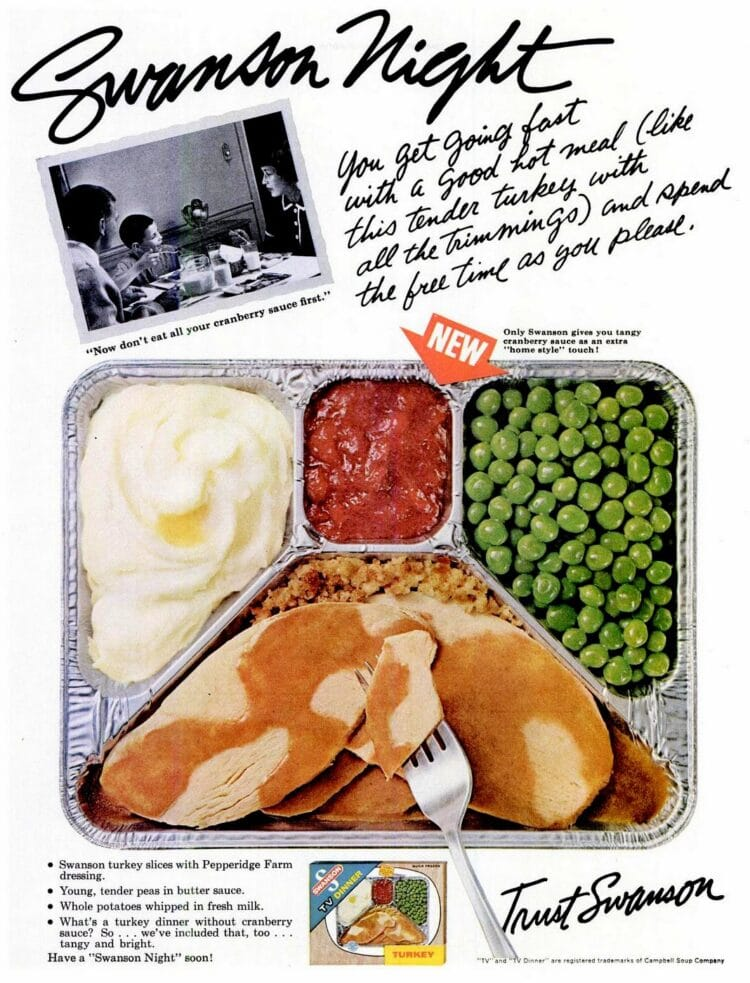 Vintage TV dinner from 1965 with turkey - peas - mashed potatoes