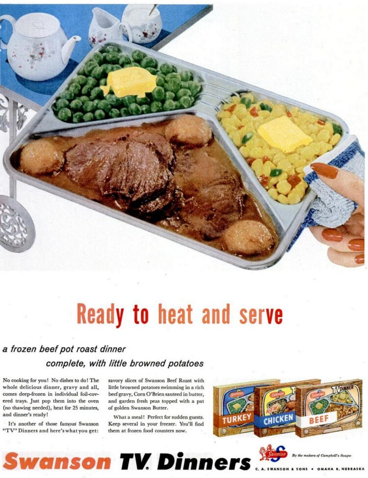 Vintage TV dinners from 1955 - Beef pot roast