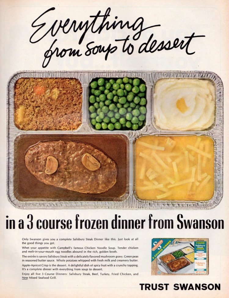 Vintage TV dinners with chicken noodle soup