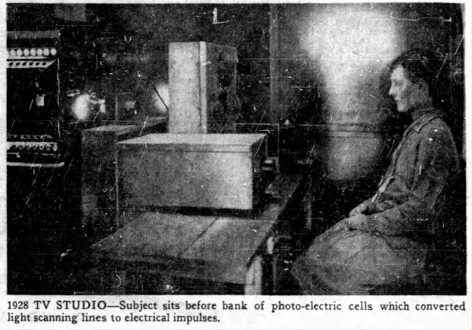 Vintage TV studio in 1928